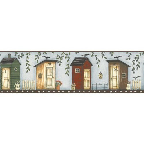 Light Blue Brown Outhouse Wallpaper Border Kitchen 500x500