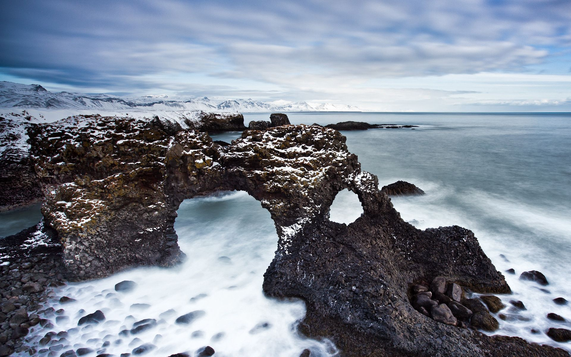 Download wallpaper 1920x1200 reeves arches stony coast cold 1920x1200