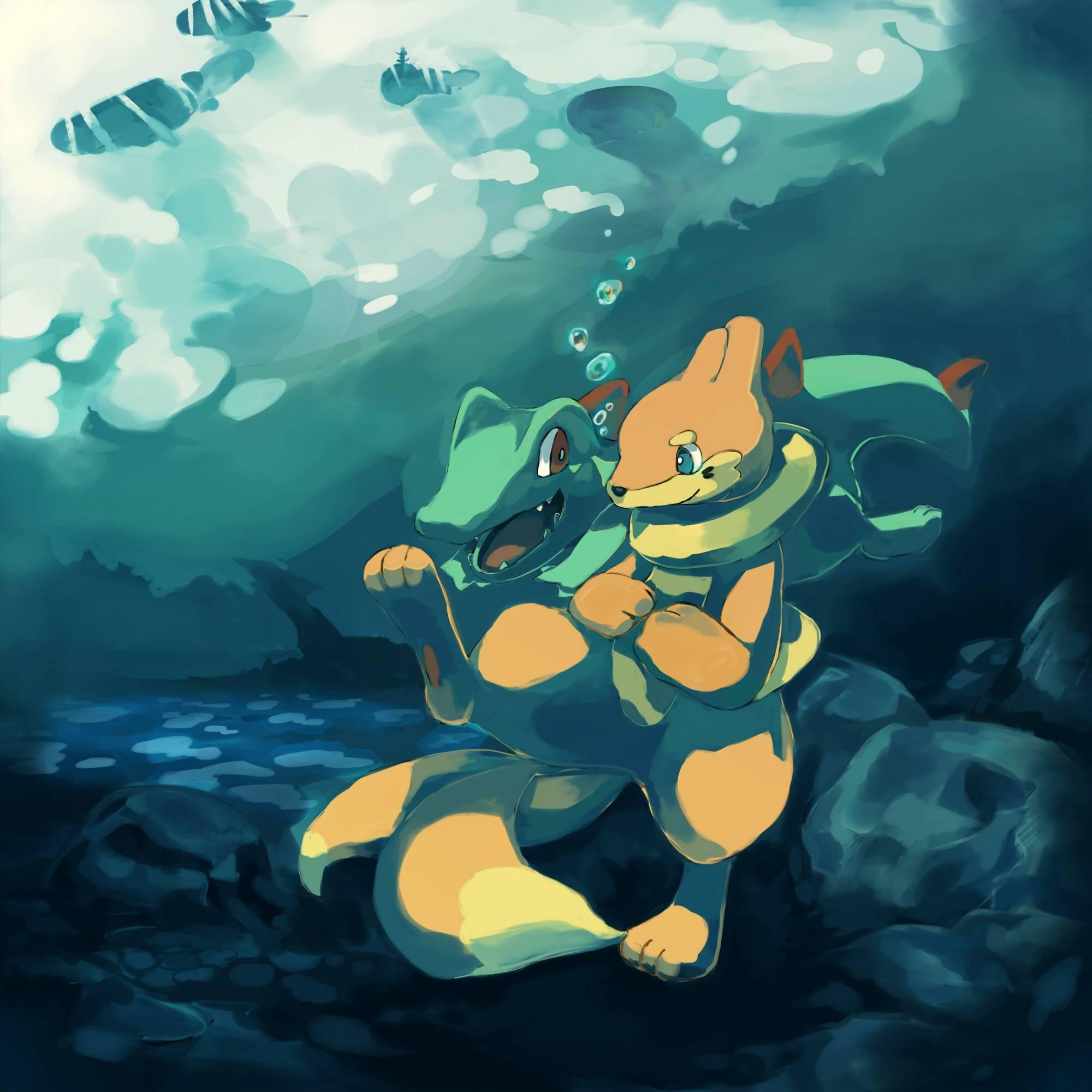Pokemon Totodile 20002000 Wallpaper 782070 2000x2000