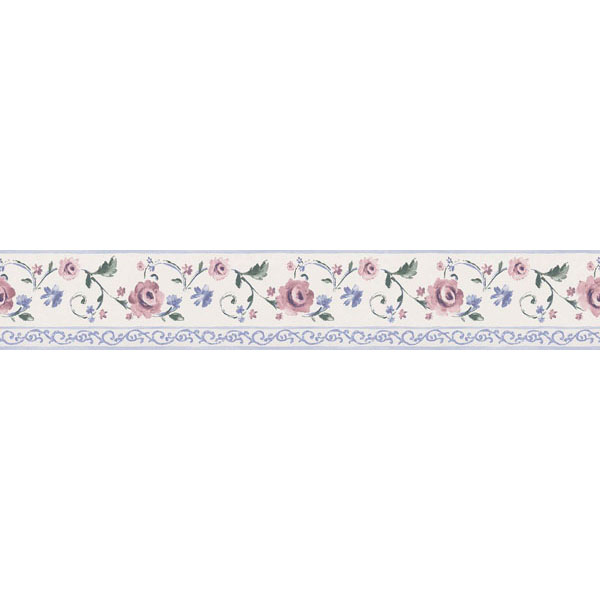 451 1838 White Rose Scroll   Brewster Wallpaper Borders 600x600