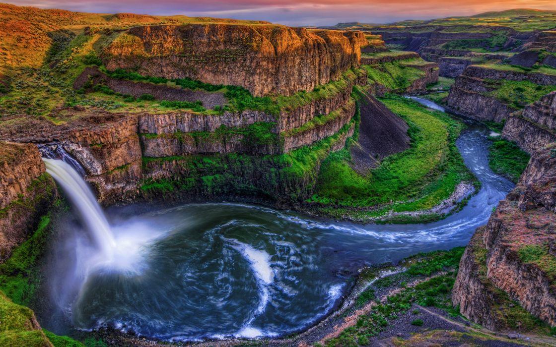 Water nature rocks canyon waterfalls rivers wallpaper 2560x1600 1120x700