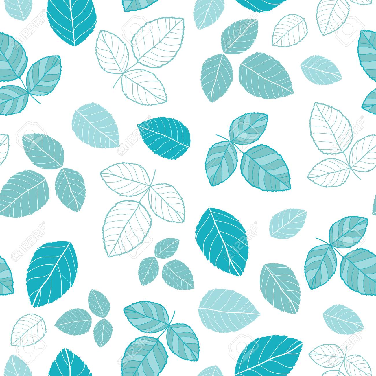 Blue Leaves Vector Repeat Pattern Great For Spring And Summer 1300x1300