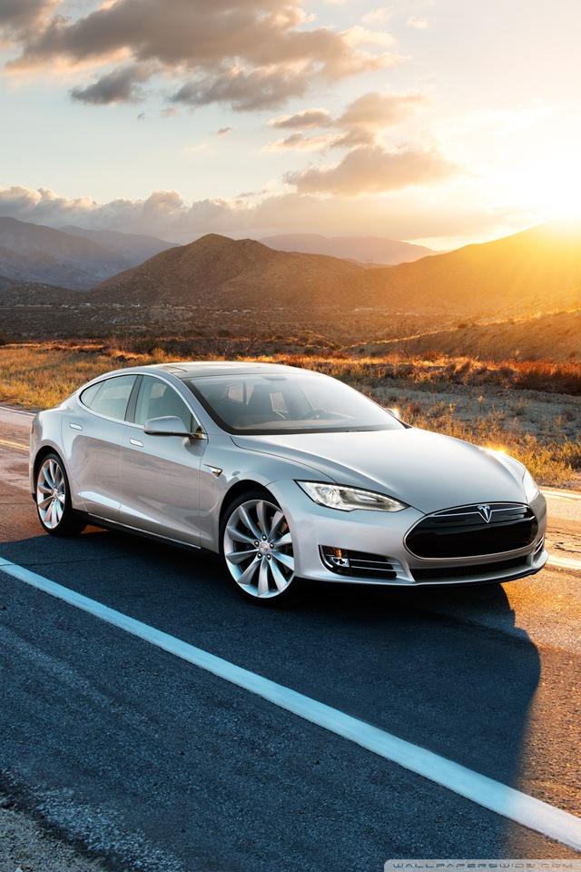 Tesla Model S in Silver Desert Road Ultra HD Desktop Background 640x960
