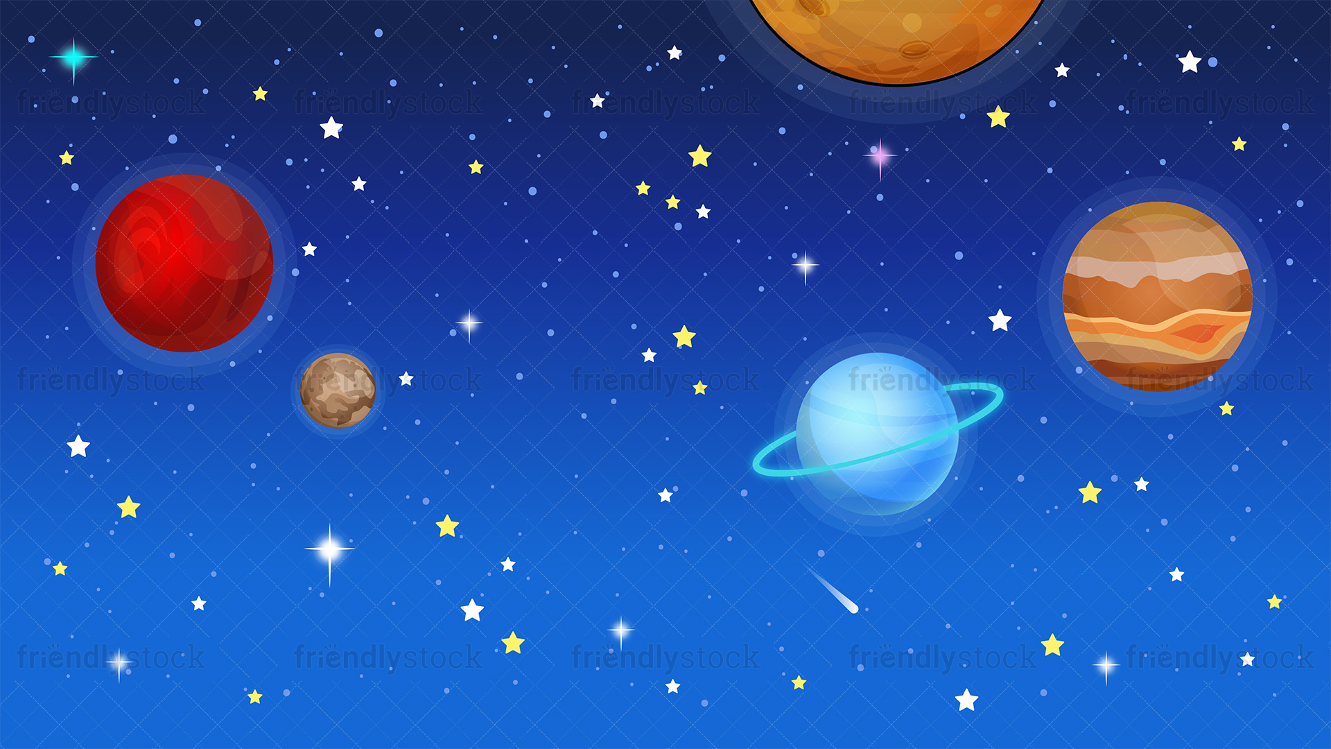 Outer Space Background Cartoon Clipart Vector   FriendlyStock 1920x1080