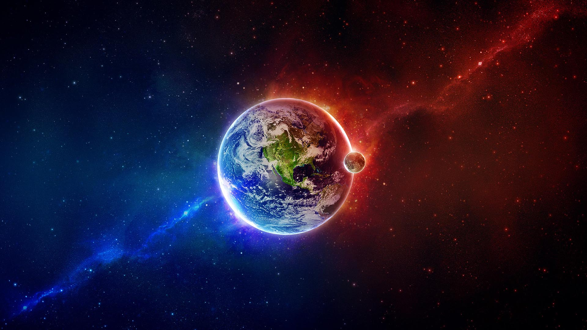 Outer Space Earth Moon Red Blue HD Wallpaper FullHDWpp   Full HD 1920x1080