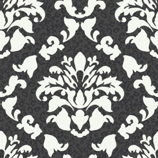 Big Bold Black and White Dramatic Damask with Leopard Print 650x650