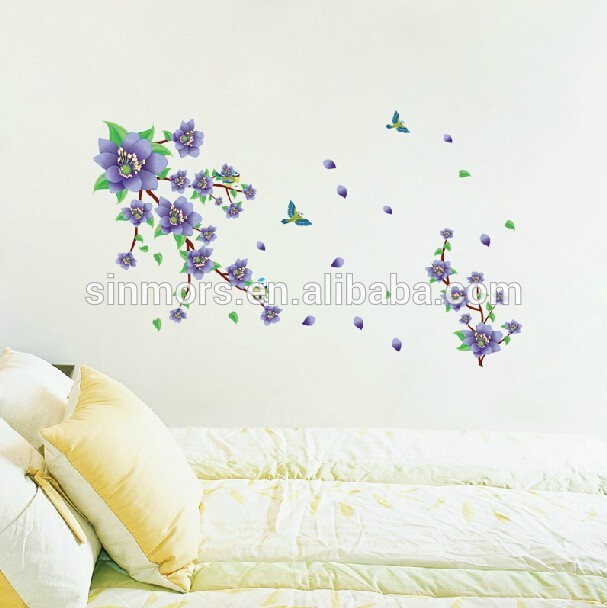 Beautiful purple flower removable 3d wallpaper for home decorationpvc 607x608