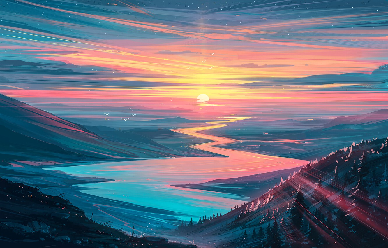 Wallpaper forest river sky trees landscape nature sunset 1332x850
