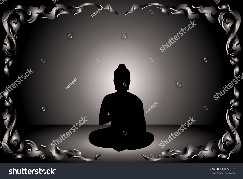 Sihouette Siddhartha Gautama Monochrome Glowing Background Stock 1500x1101