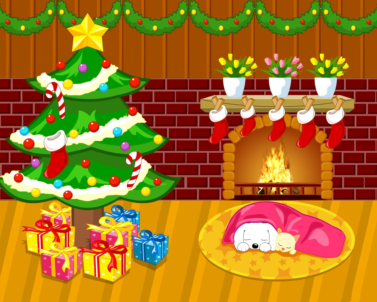 Christmas Cartoon   Wallpapers Pictures Pics Photos Images 1280x1024