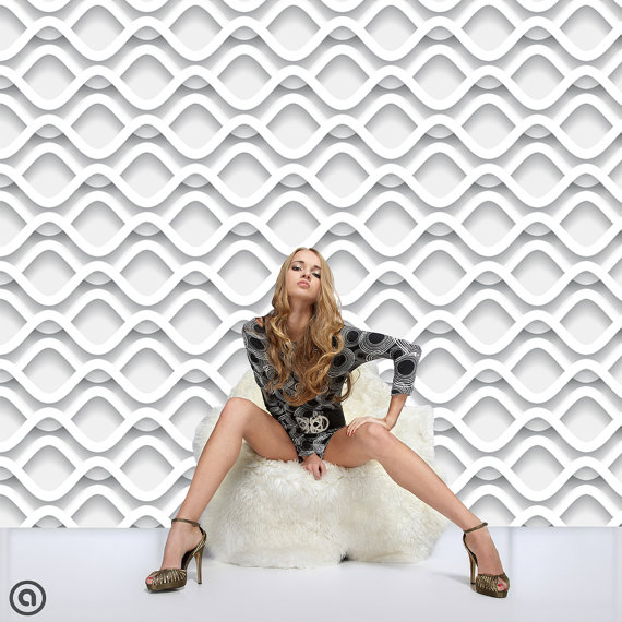 Couture Removable Wallpaper Retro Wave  Peel Stick Self Adhesive 570x570
