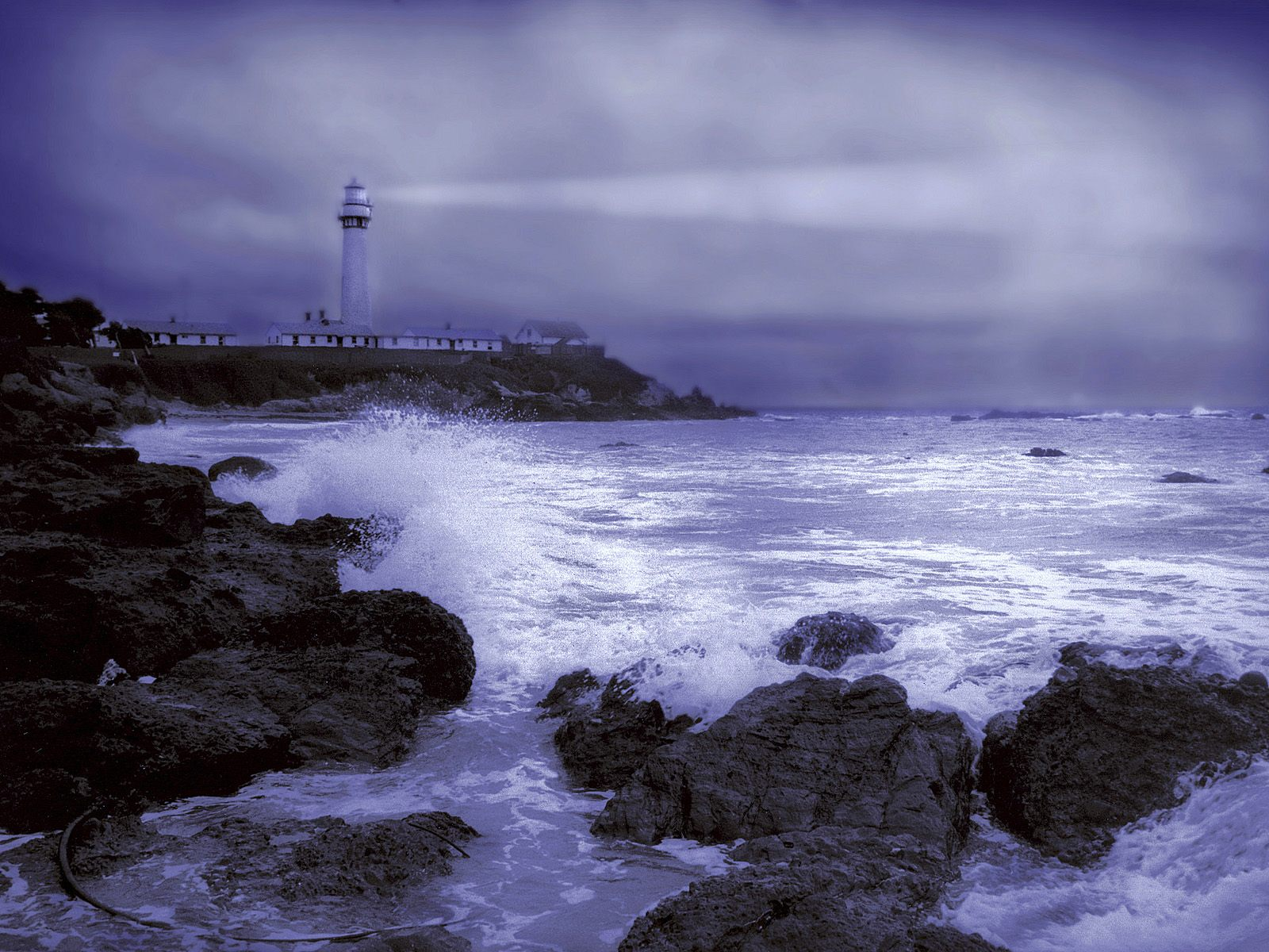 Lighthouse Stormy Weather Pigeon Point Light Station California 1600x1200