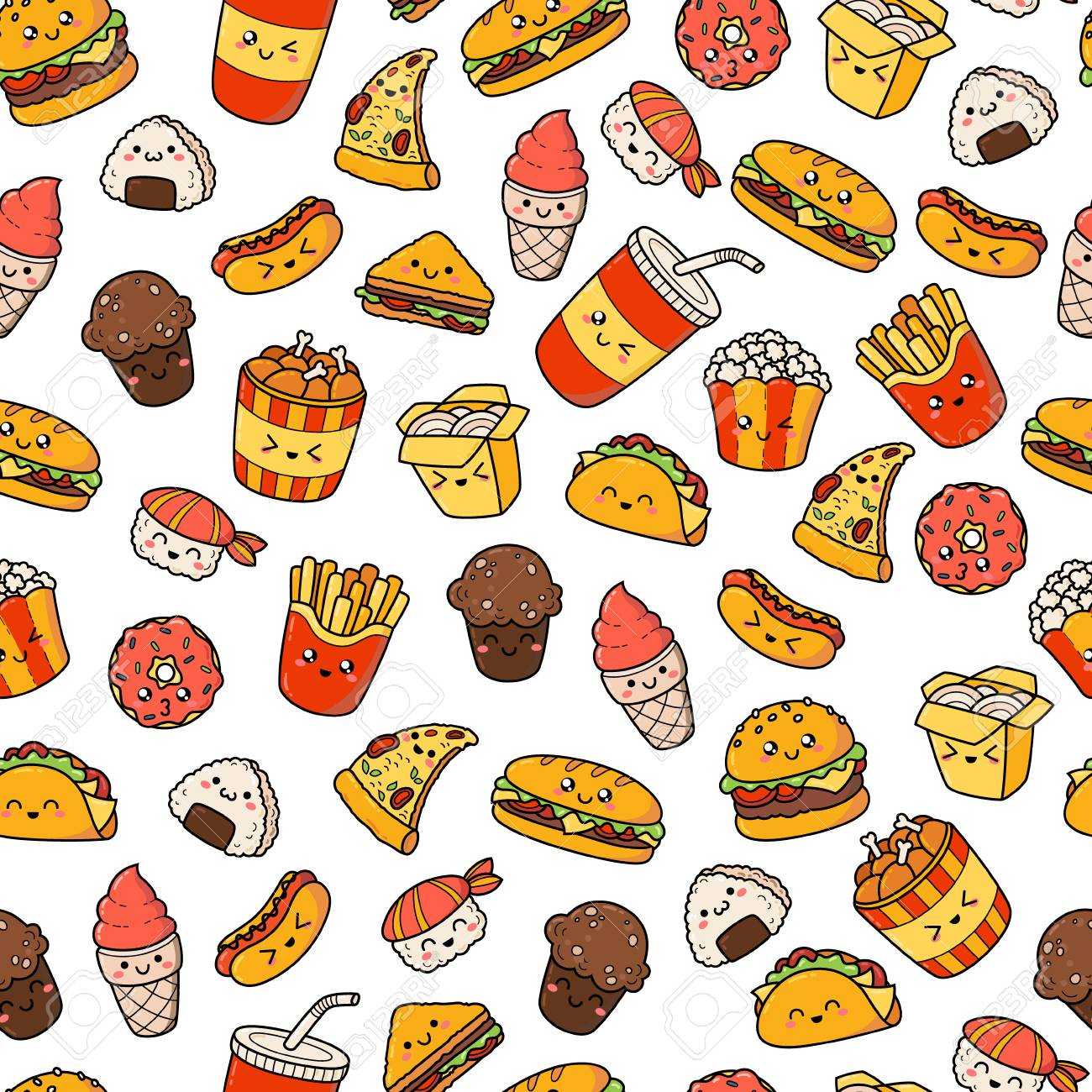 Set Of Vector Cartoon Doodle Icons Junk Food Illustration Of 1300x1300