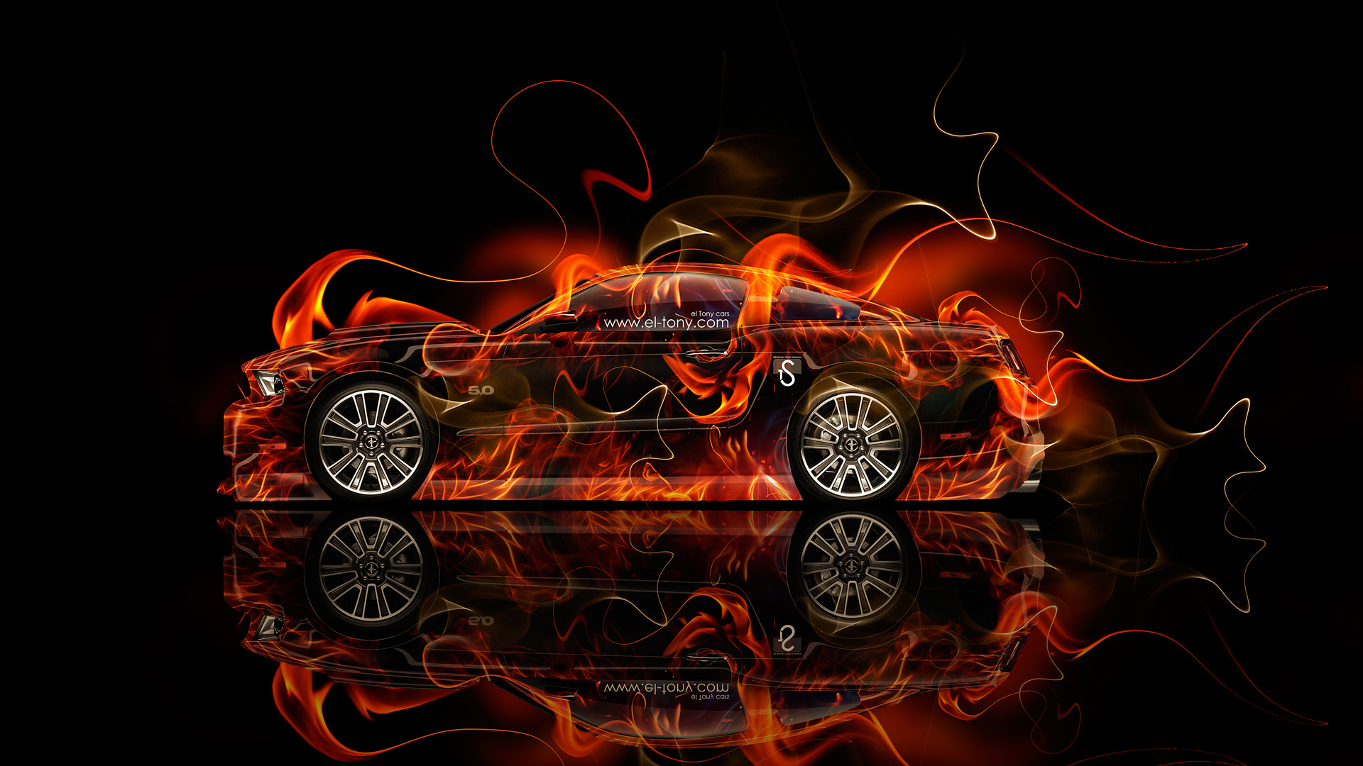 Ford Mustang GT Muscle Fire Car 2014 HD Wallpapers design by Tony 1920x1080