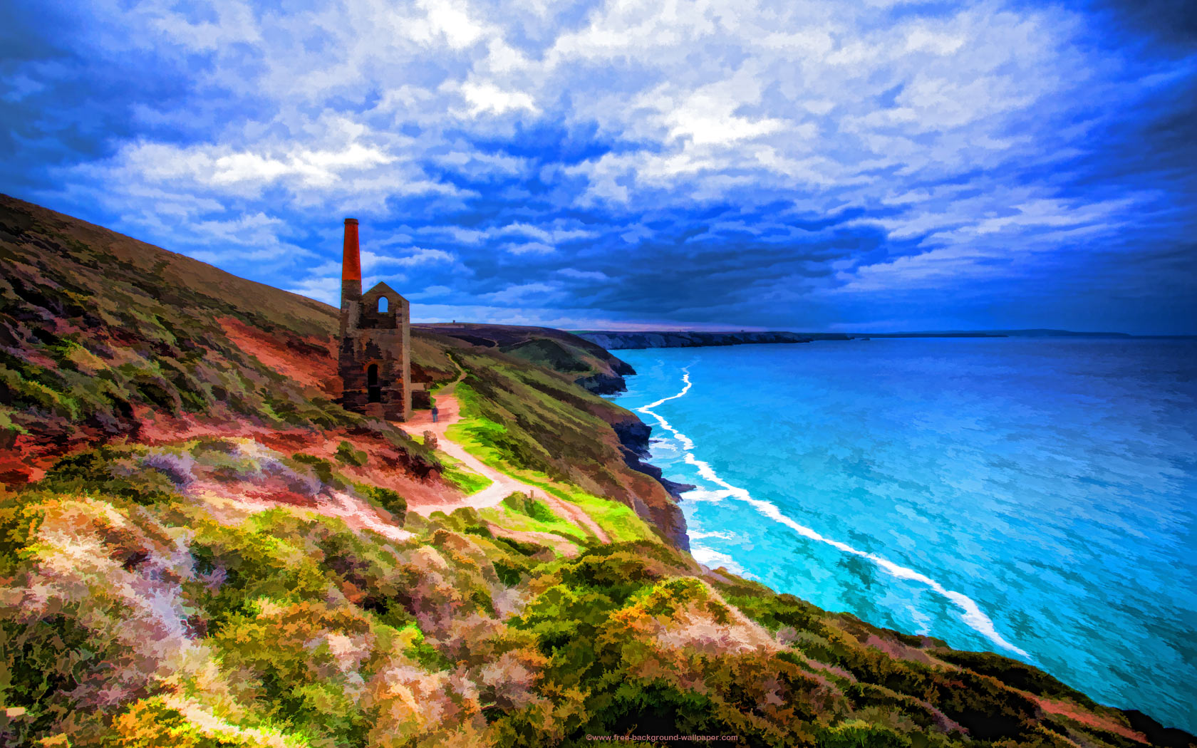 Tin Mine in Cornwall Artistic Backgrounds   1680x1050 pixels 1680x1050