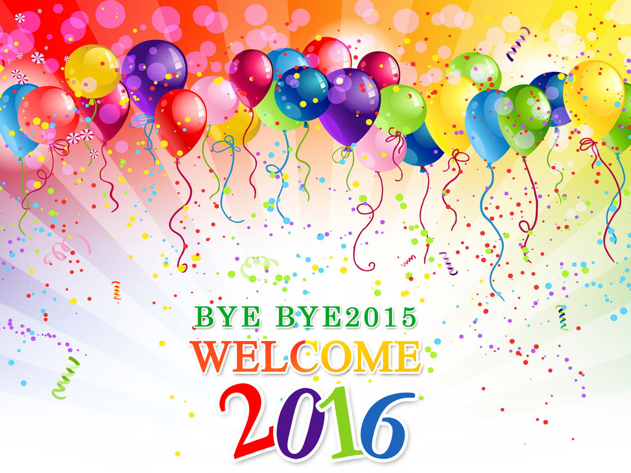 Colourful party for the New Year 2016  balloons and 1280x960