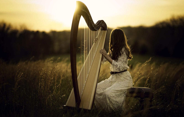 Wallpaper girl light harp images for desktop section 1332x850