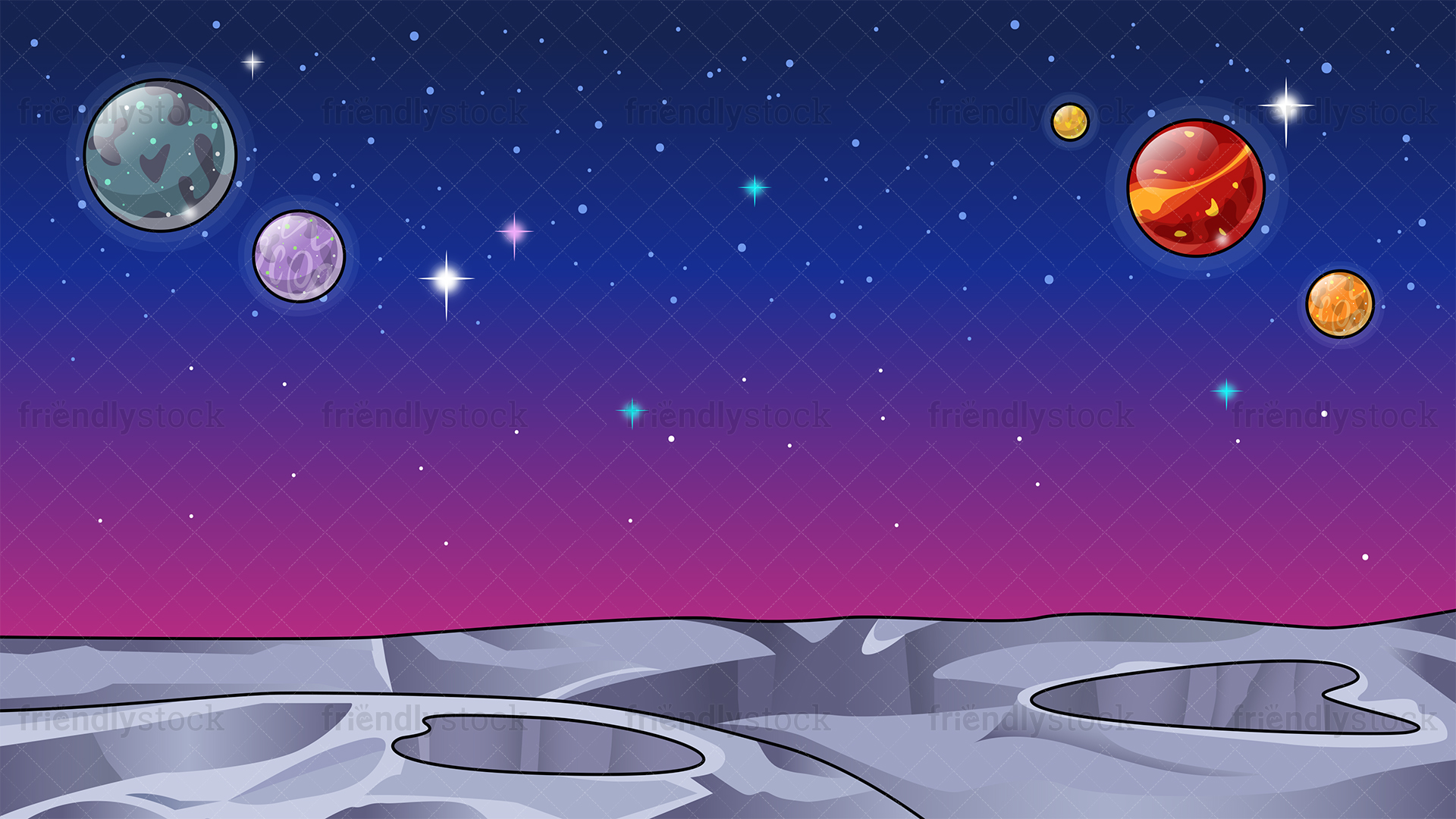 Barren Alien World Space Background Cartoon Clipart Vector 1920x1080