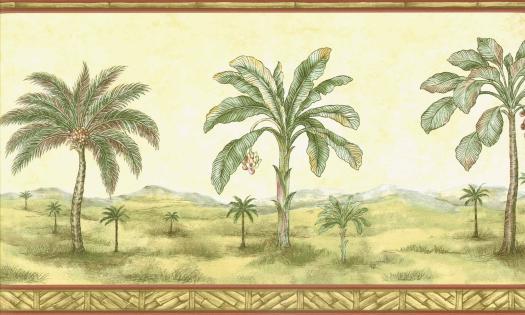 Palm Tree Mural Wallpaper Border 525x315