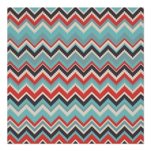Aztec Tribal Chevron Zig Zag Pattern Red Blue Gray Poster 512x512