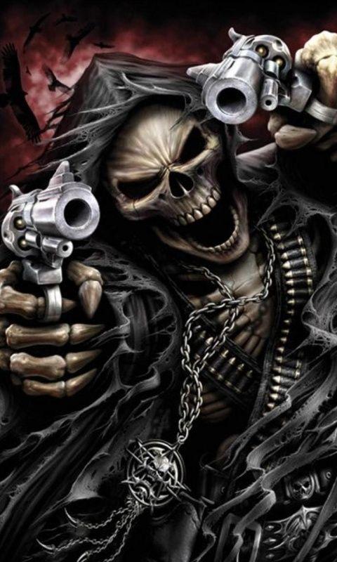 Wallpaper Grim Reaper Skeleton Skull 320x480 Iphone Mobile 480x800