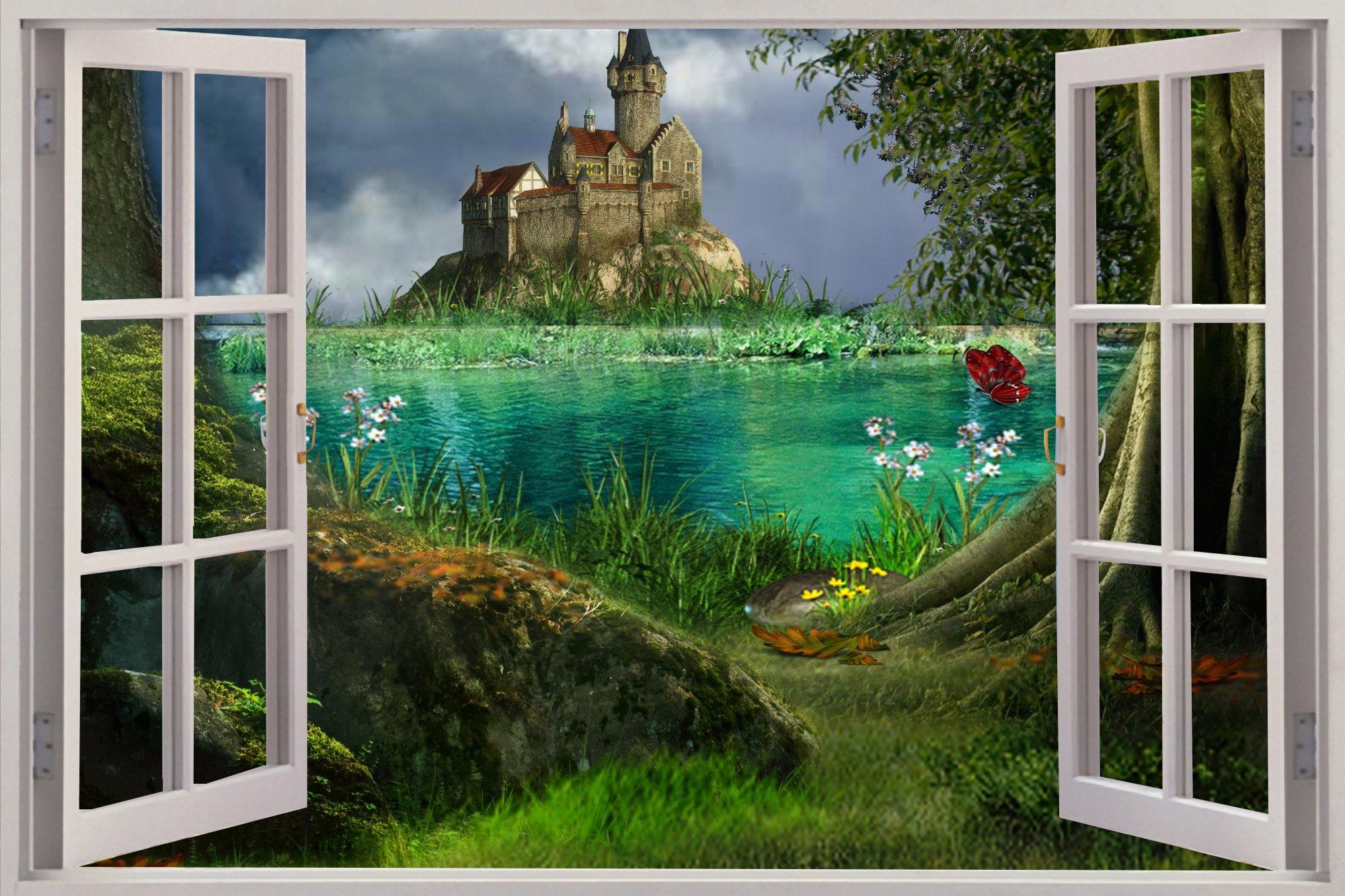ebay 3d wallpaper wallpapersafari details about huge 3d window enchanted castle view wall stickers mural