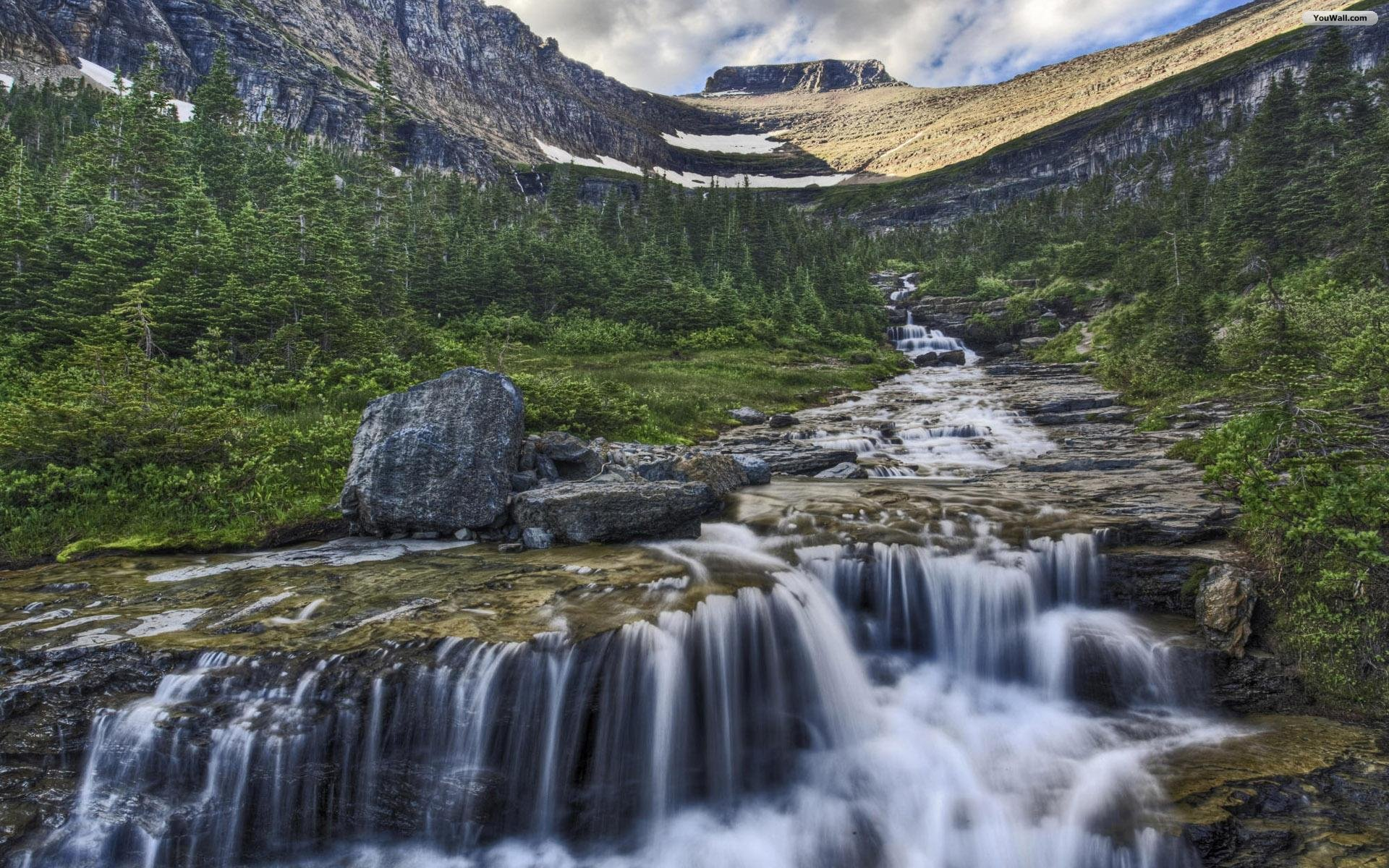 Mountain River Waterfall Wallpaper   wallpaperwallpapersfree 1920x1200