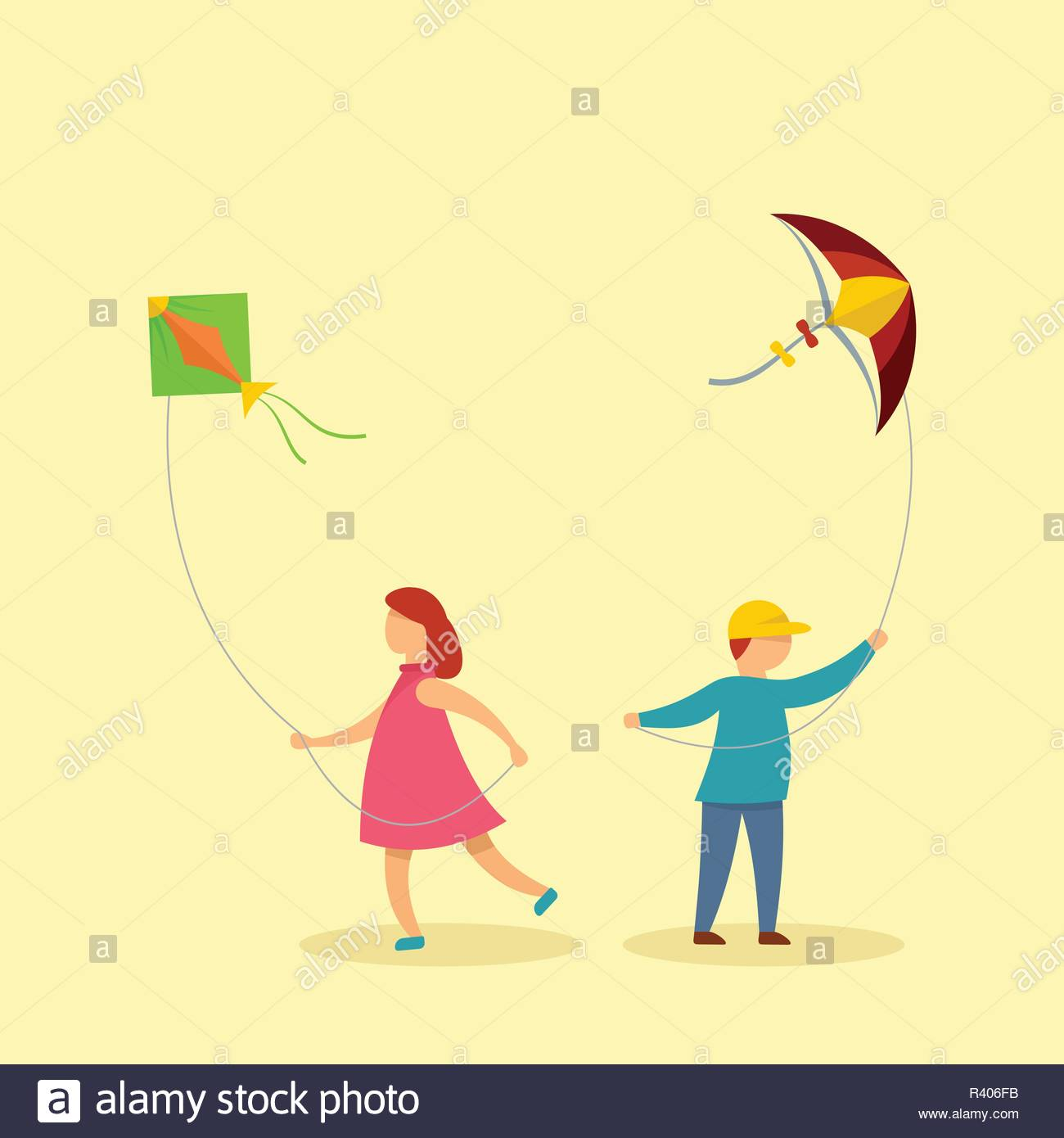 Children with kites background Flat illustration of children with 1300x1390