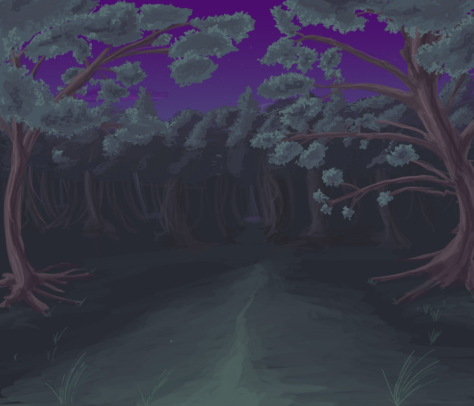 Anime Style Night Forest by wbd 966x828
