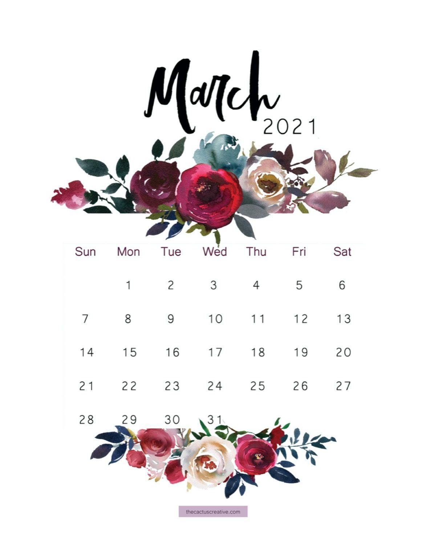 2021 Printable Calendar Floral Watercolor Calendar Letter Etsy 1173x1500