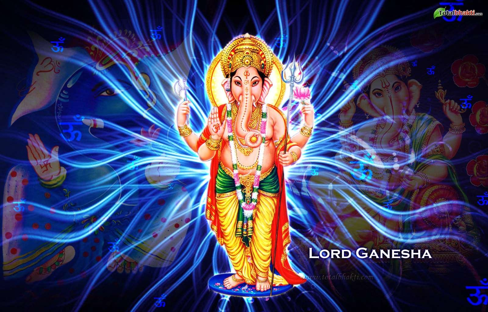 Wallpapers Backgrounds   lord ganesh Wallpaper blue white yellow color 1600x1024