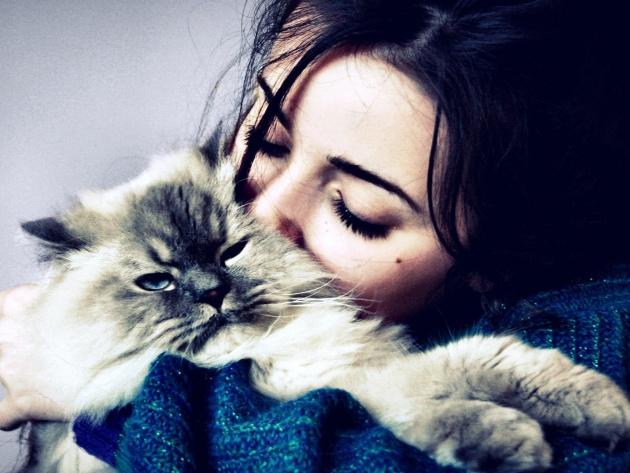 Wallpaper Girl hugs and kisses kitten   Photos and Walls 630x473
