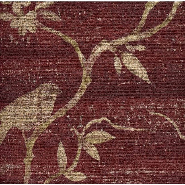 Beige Asian Branches with Birds on Textured Reddish Burgundy Wallpaper 650x650