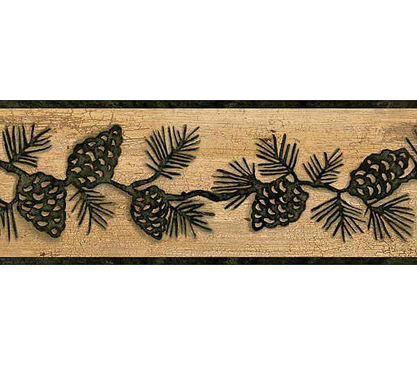 Green and Brown Lodge Pinecones Wallpaper Border 600x525