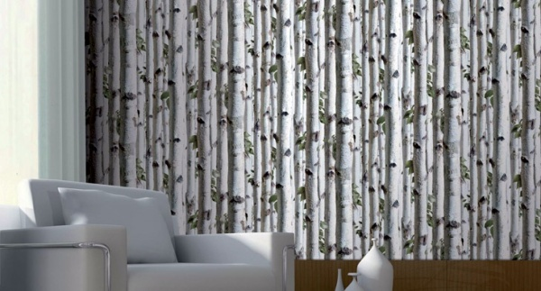 Koziel Birch Tree Trompe loeil wallpaper by Couture Dco 600x323
