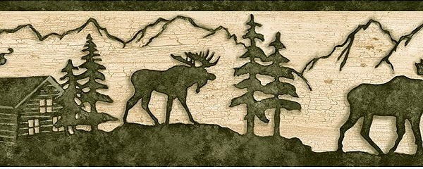 Beige and Green Lodge Moose Wallpaper Border   Traditional   Wallpaper 600x240