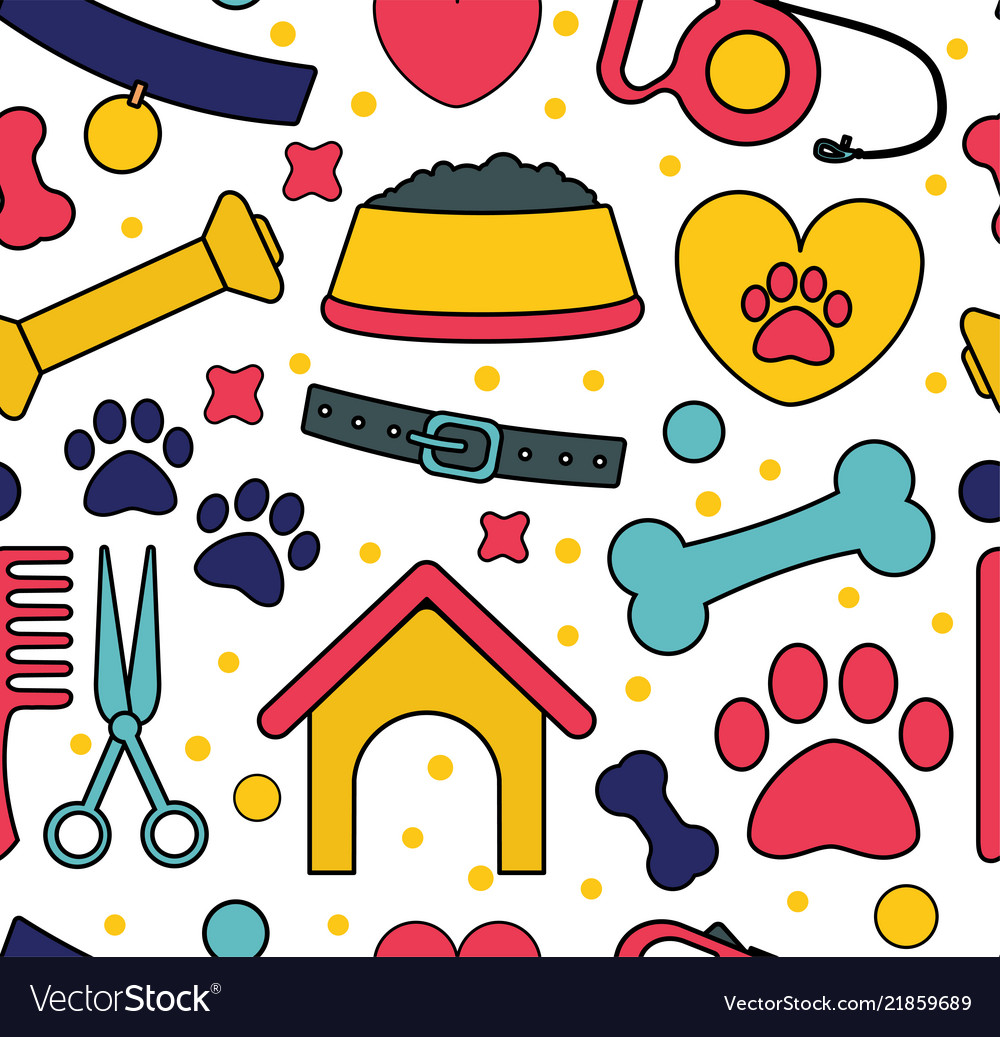 Pet seamless patterns backgrounds for pet shop Vector Image 1000x1037