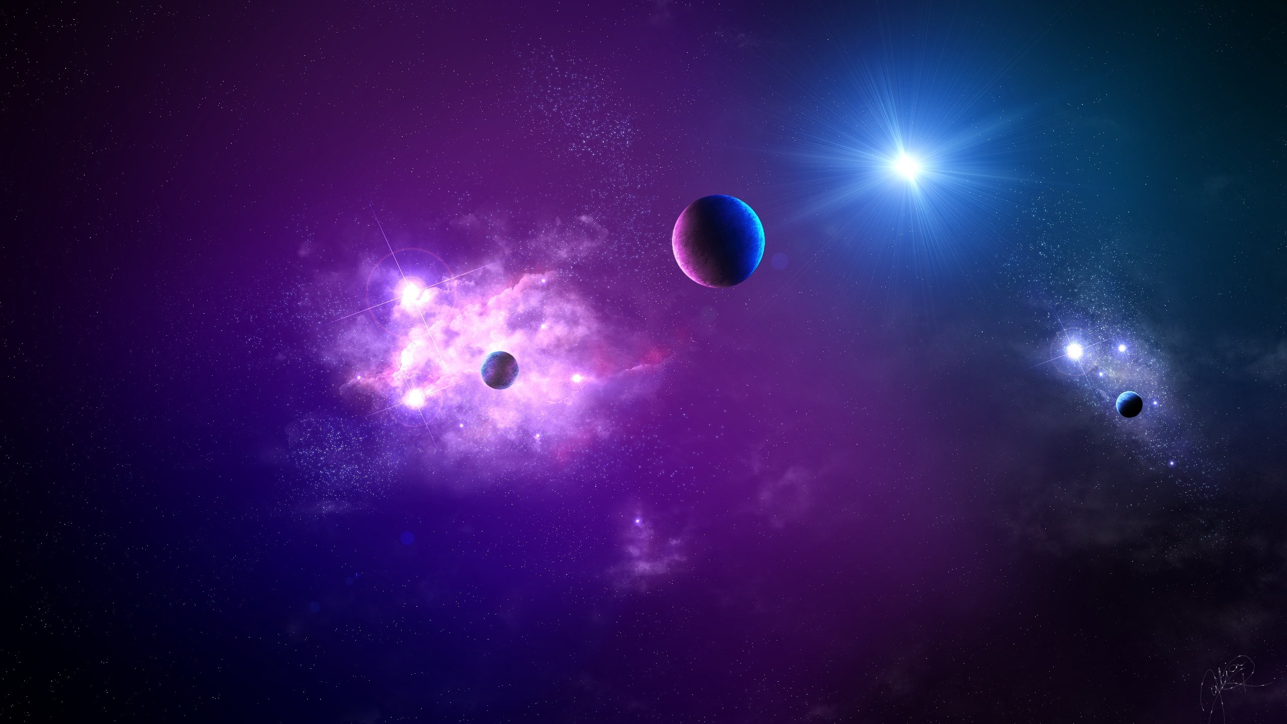 Download Wallpaper 2560x1440 Space Planet Light Galaxy Mac iMac 27 2560x1440