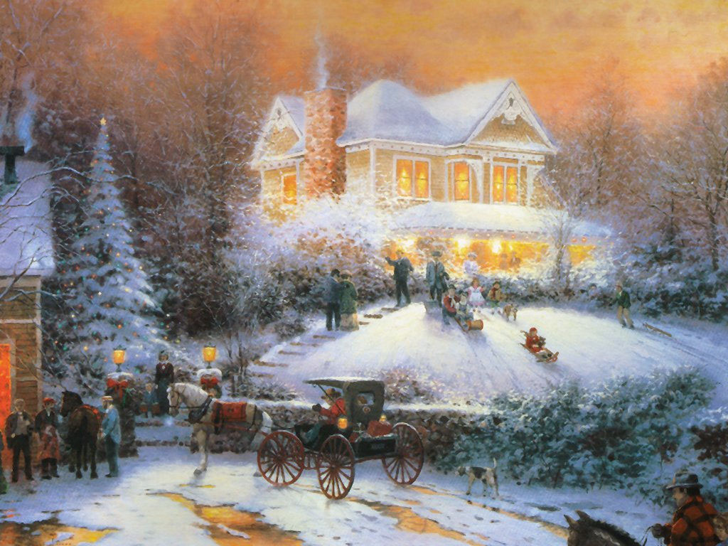 Family Christmas   Christmas Landscapes Wallpaper Image 1024x768