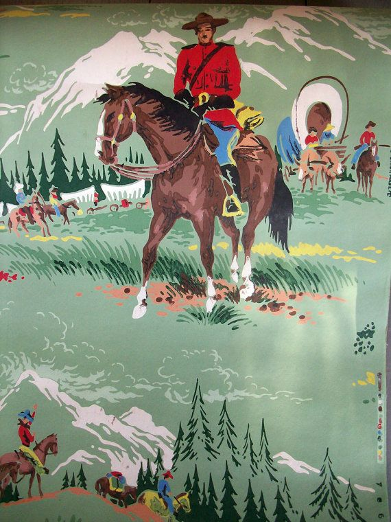 Vintage Wallpaper Canadian Mounted Fabulous by catsinthecradlesoap 570x760
