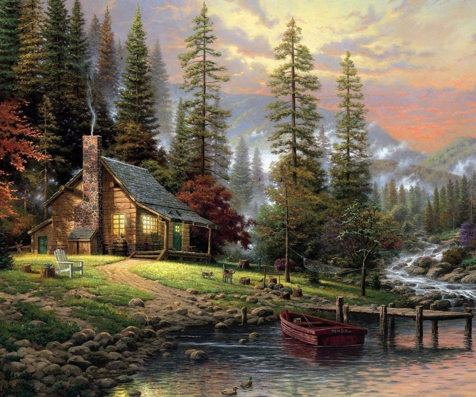 Wallpaper painting Thomas Kinkade a quiet corner of the house 960x800