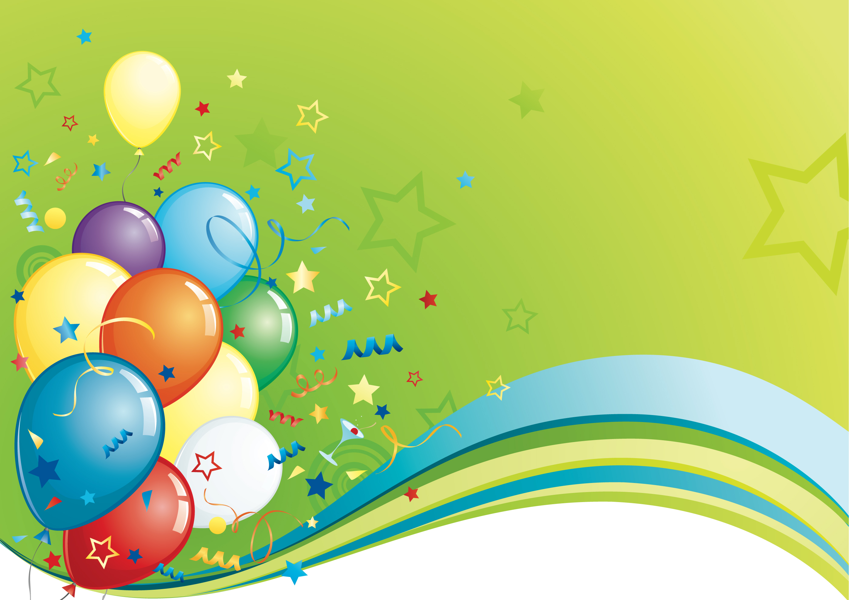Birthday Party Balloons On Green Background De 14450 Wallpaper 2800x1979