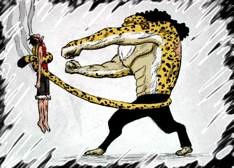 Luffy vs Rob Lucci by Niicchan 900x649
