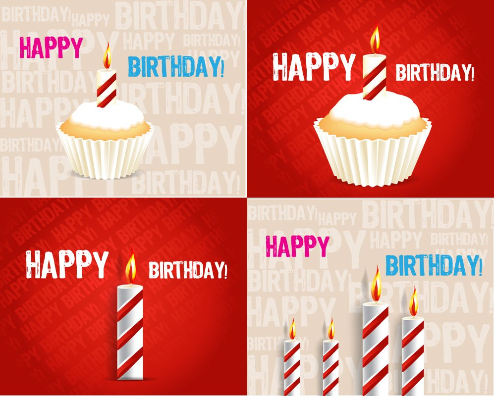 Birthday greeting card on red background vector vector 997x800