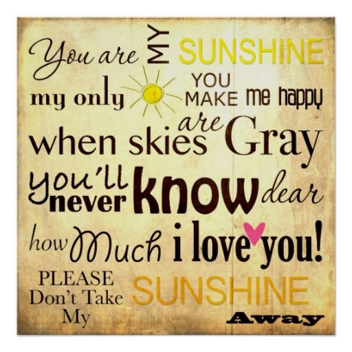You are my Sunshine Word Art Vintage Background Print 512x512