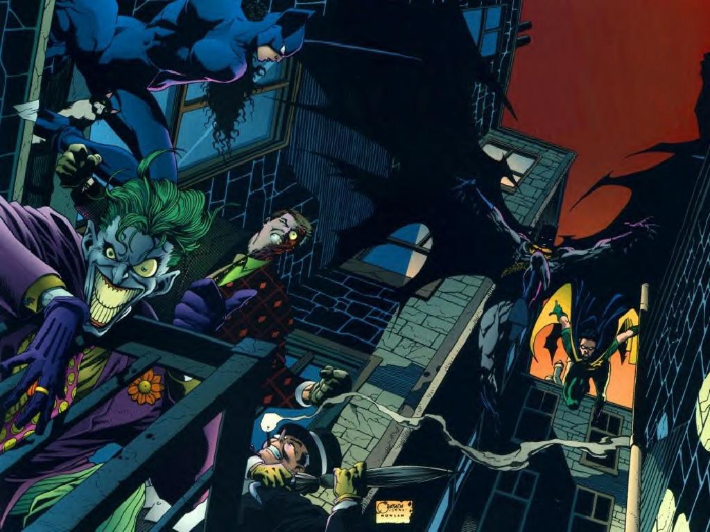 lg batman and robin vs villains by phillip HD Wallpaper of Cartoon 1024x768