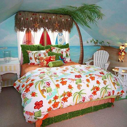 49 Beautiful Beach And Sea Themed Bedroom Designs: Hawaiian Themed Wallpaper For Walls
