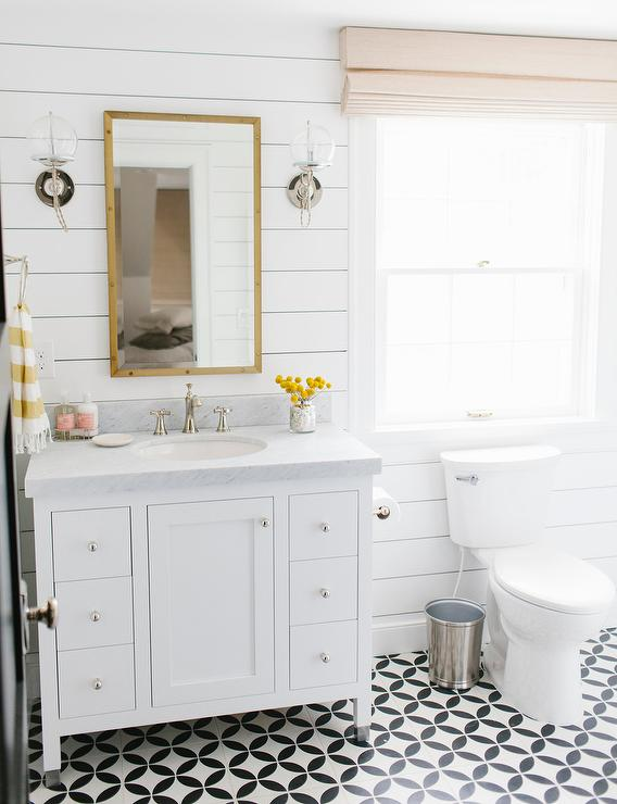 White and Yellow Bathroom Design Transitional Bathroom 568x740