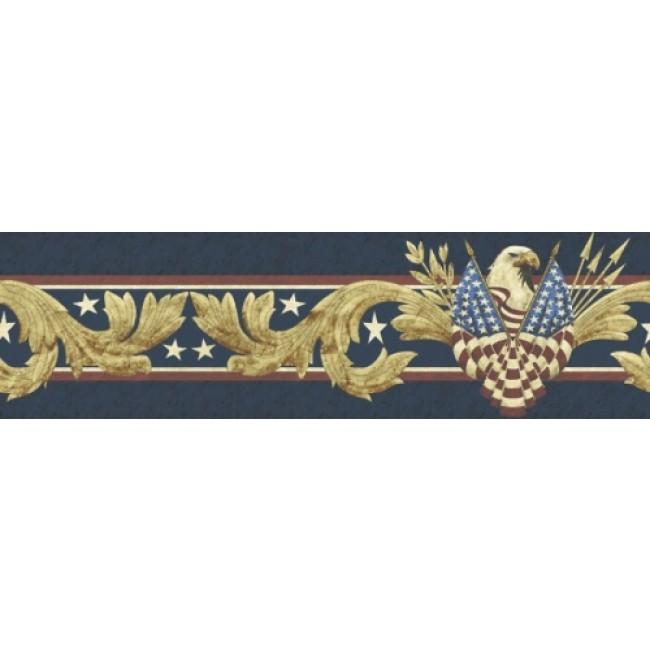 Patriotic American Eagle Peel and Stick Wallpaper Border   All 4 Walls 650x650