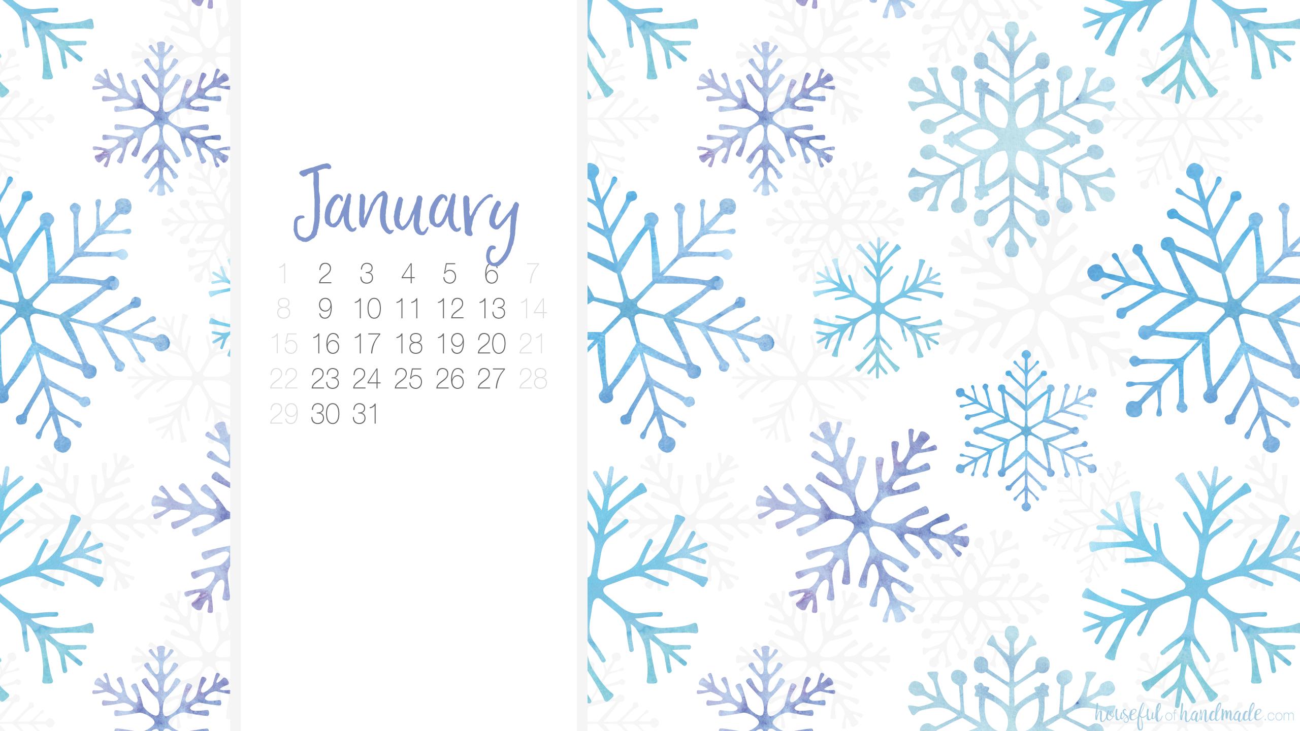 January 2018 Calendar Background 2560x1440